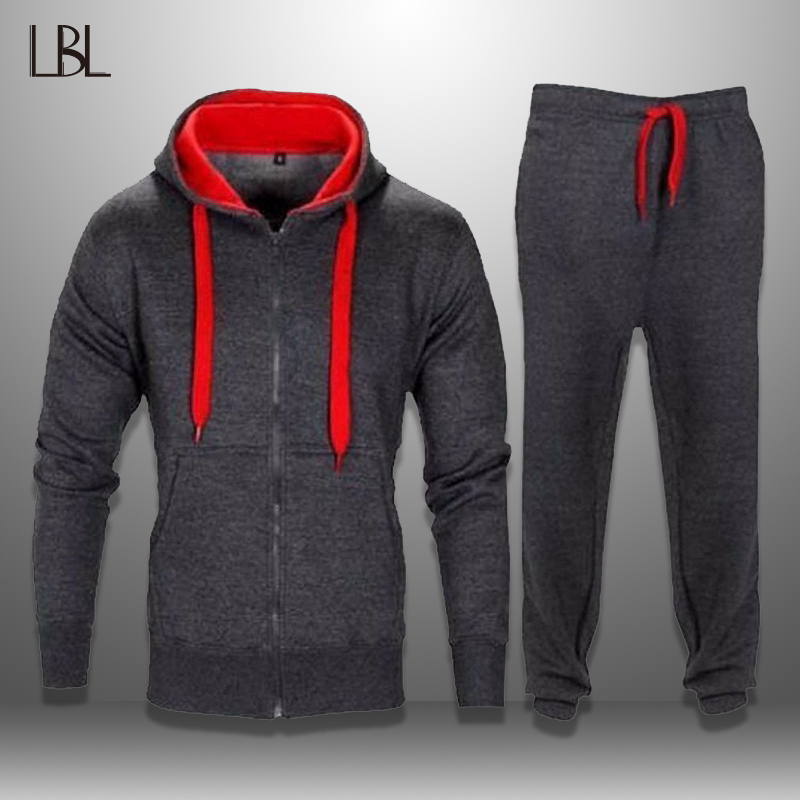 LBL Casual Hooded Tracksuits Men Sportswear Mens Sweat Suits Hoodie + Pants Two Pieces Sets Autumn Tracksuit Male Chandal Hombre