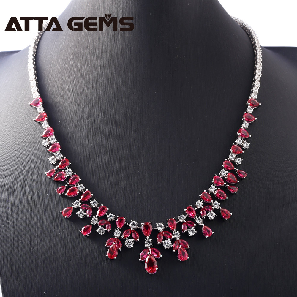 Ruby Sterling Silver Wedding Pendants for Women Engagement Romantic Classic Style Created Ruby Exquisite Necklace Luxury