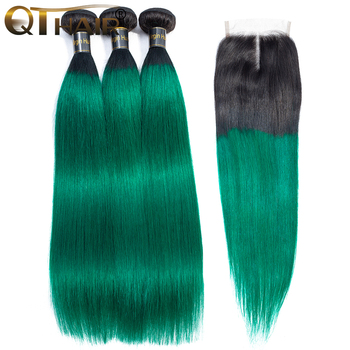 QT Pre-Colored Ombre Bundles With Closure 3 Bundles With Closure T1B/ Green Dark Roots Turquoise Silk Straight Human Hair