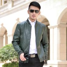 Black green brown autumn thin motorcycle leather jacket man short leather coats mens jackets casual jaqueta de couro masculino