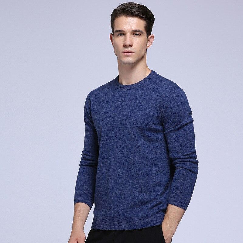 ผู้ชาย100%ขนแกะขนยาวบริสุทธิ์ของแข็งO คอเสื้อกันหนาวลูกเรืออบอุ่นเต็มแขนเสื้อสวมหัว-ใน เสื้อคลุมสวมศีรษะ จาก เสื้อผ้าผู้ชาย บน   1