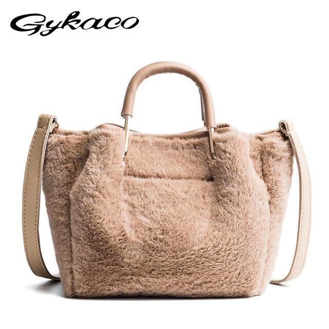 afb3341eeb Fashion Soft Faux Fur Women Bag Shoulder Handbag for Winter Short Handle  Handbag Ladies Small Crossbody