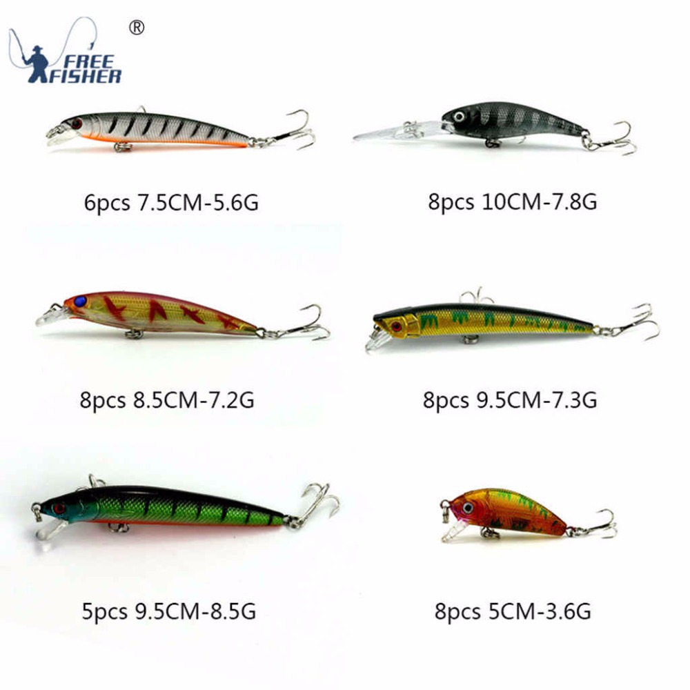 43pcs/set Fishing Lures Set Isca Artificial Hard Bait Minnow Crankbait with Treble Hooks Fishing Tackle Accessories pesca wldslure 1pc 54g minnow sea fishing crankbait bass hard bait tuna lures wobbler trolling lure treble hook