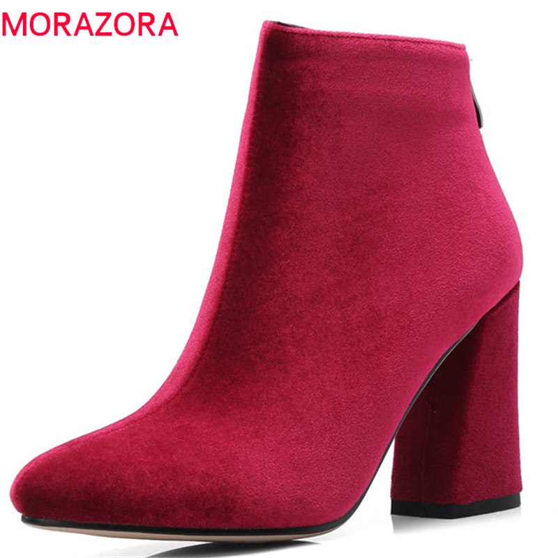 MORAZORA 2018 new arrival ankle boots for women pointed toe solid colors autumn winter boots square high heels shoes woman enmayla autumn winter chelsea ankle boots for women faux suede square toe high heels shoes woman chunky heels boots khaki black