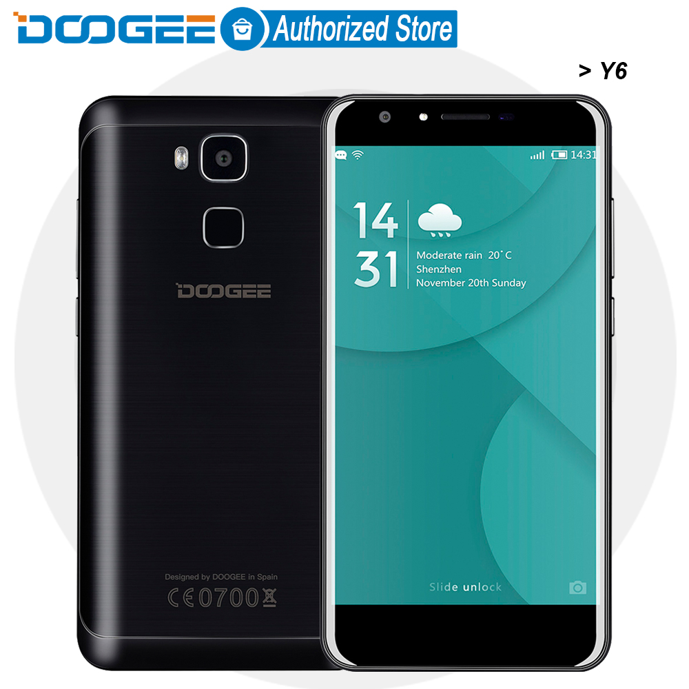 Doogee Y6 mobile phones 5 5Inch HD 2GB 16GB Fingerprint Android6 0 Dual SIM MTK6750 Qcta