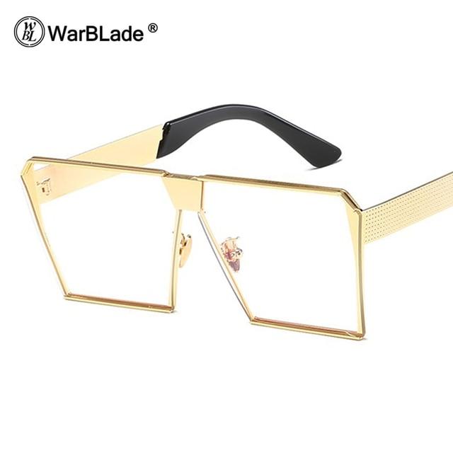 a353e4b3bdf3 WarBLade 2018 Square Hip Hop Eyewear Clear Sunglasses Men Women Mirror Sun  glasses Lady Flat Oversized Transparent Eyeglasses