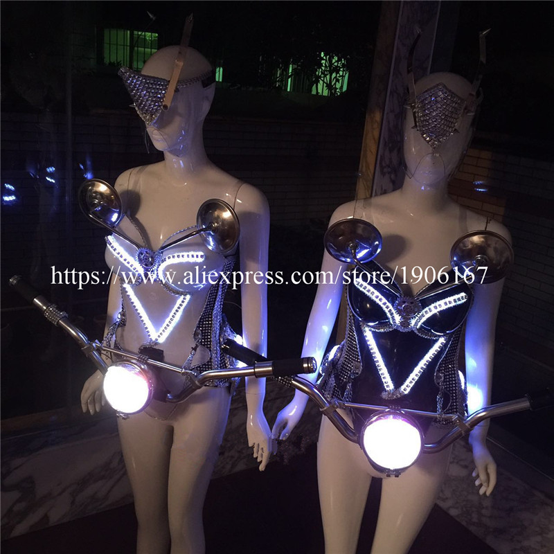 Hot Led Luminous Sexy Evening Dress Catwalk Clothes Carnival Victoria Ballroom Costume Stage Dance DJ Singer Cosplay Clothing