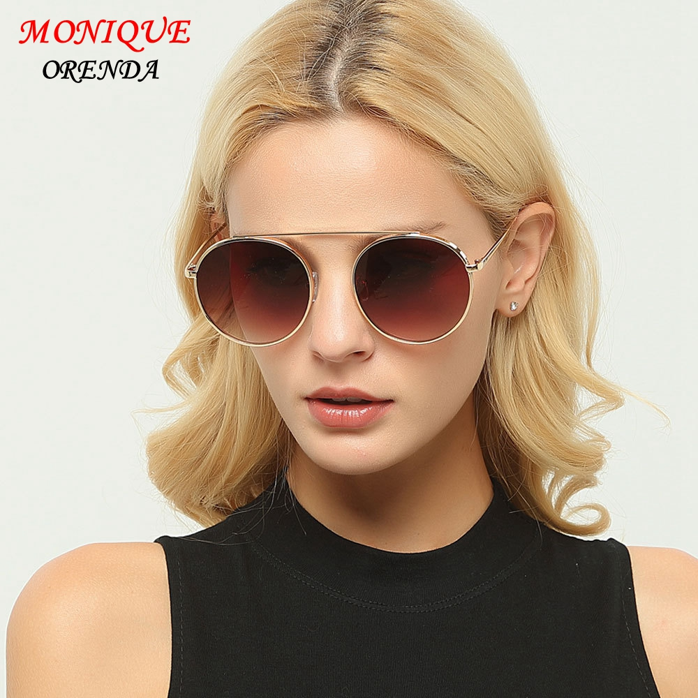 2017 Brand Designer Women Round Sunglasses Metal Retro Glasses Shiny tinting Lens Mirrow Sungalsses Vintage shade UV400