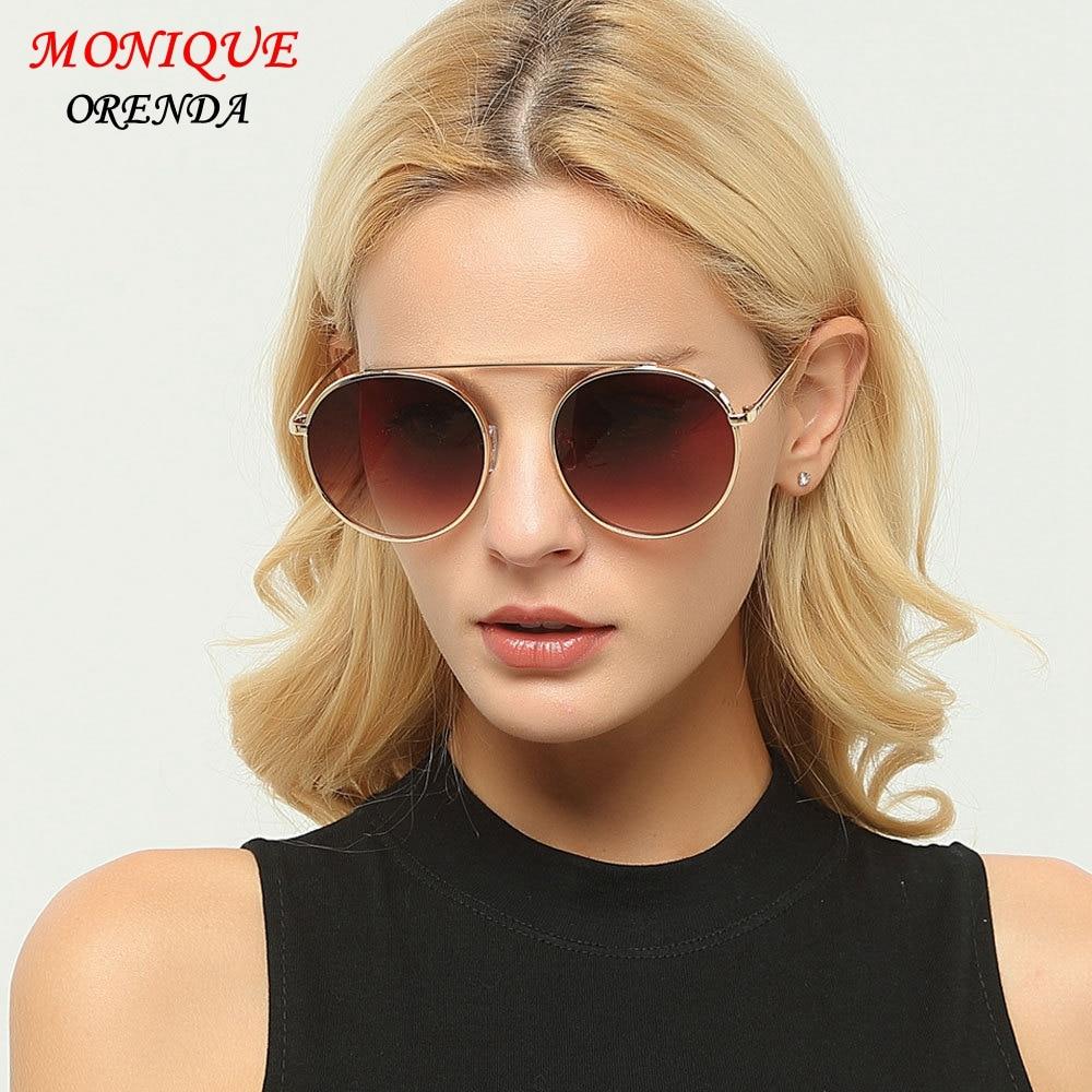 2017 Brand Designer Women Round Sunglasses Metal Retro Glasses Shiny tinting Lens Mirrow Sungalsses Vintage shade UV400
