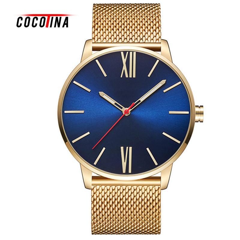COCOTINA Ultra Thin Design Waterproof Watch For Men Alloy Strap Wristwatch Big Dial Quartz Business Men Watches LSB01337