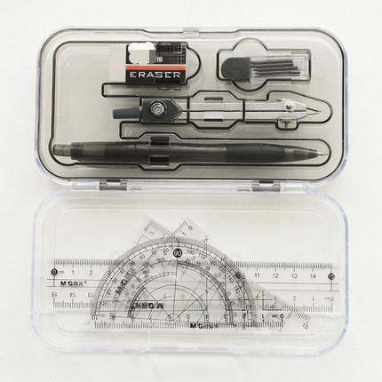 Stationery Eight-piece Suit, Compass, Triangle Ruler, Ruler, Pen, Rubber , Protractor, Painting Tools For Students