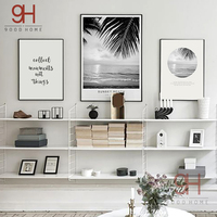 Beach Landscape Canvas Art Print Painting Poster Quote Wall Pictures For Home Decoration Wall Decor BW003