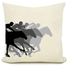 New Arrival Home Textile Superimpose Effect Horse Racing Pattern Throw Pillow