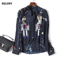 New Designer Blouses Casual Ladies Bow Collar Star Moon Prints Dark Blue Silk Chiffon Blouses Femmes
