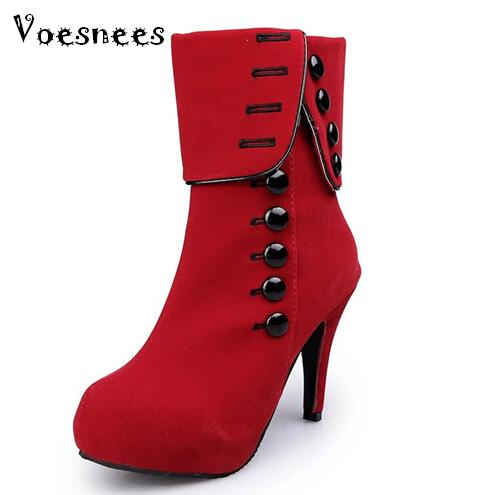Plus Size Winter Snow Boots Women Mid-Calf Boots High Heels Red Platform Flock Buckle Boots Ladies Shoes Female Botas Feminina new fashion winter boots wool flock shoes women boots platform thick high heels mid calf boots two swear big size 34 43 0715