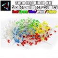 500 шт./лот 3 мм светодиодный Диод комплект смешанные Цвет красный зеленый желтый, синий, белый - фото