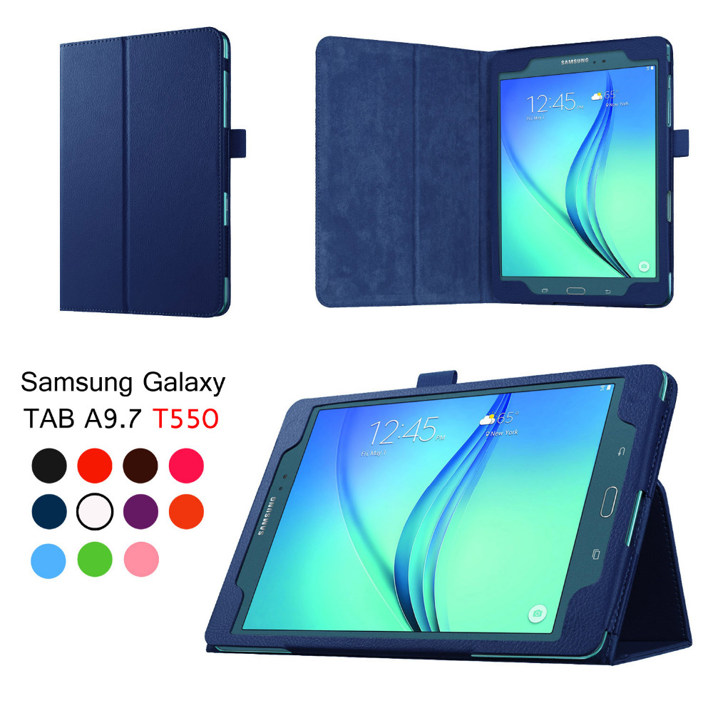 For Samsung Galaxy Tab A 9.7 SM-T550 SM-T551 SM-T555 T550 Case 2 Folding Stand Flip PU Leather Cover Case+screen film+stylus case for samsung galaxy tab a 9 7 t550 inch sm t555 tablet pu leather stand flip sm t550 p550 protective skin cover stylus pen