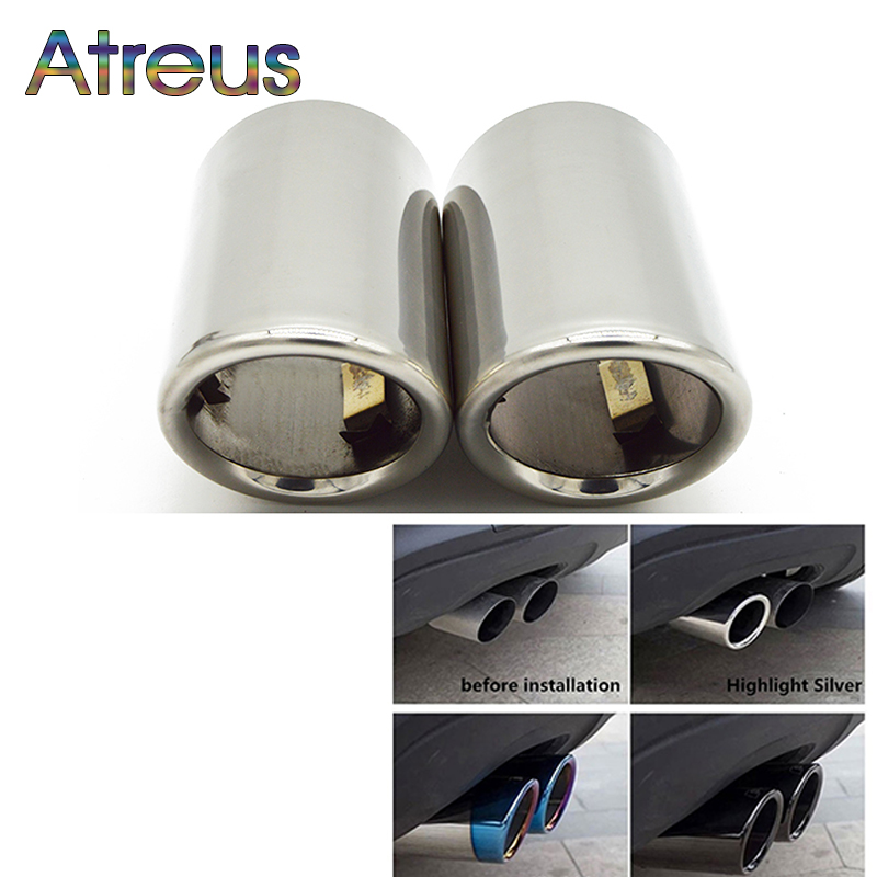 цена на Atreus 2pcs Car Exhaust Tip Muffler Pipe Cover For Audi A4 B8 A3 A1 Q5 Auto Accessories For VW Tiguan Volkswagen Passat B7 CC