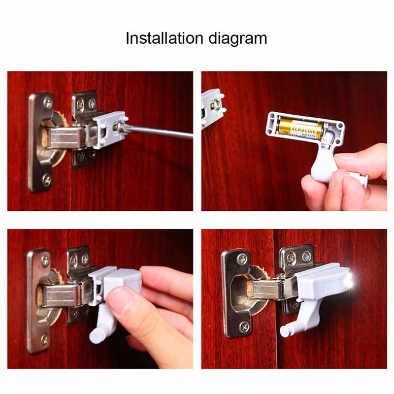 Светильник для полки на кухню движения Сенсор светодиодный внутренний петля для шкафа, комода двери 3 светодиодный ночник автоматического включения/выключения светодиодный свет