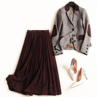 Women high quality color block vest blazer suit vintage single breasted suede pleated long skirt 3 piece set new 2018 winter