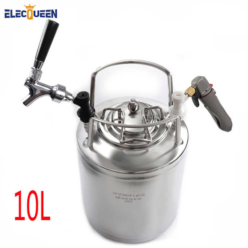2.5 Gallon 10L Cornelius Keg Style Stainless Steel Beer  Keg & Beer Faucet tap & CO2 Keg Charger Kit,Homebrew Set
