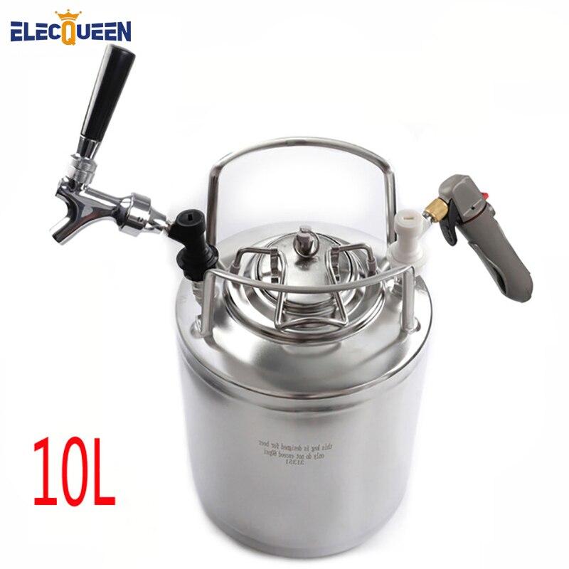 2.5 Gallon 10L Cornelius Keg Style Stainless Steel Beer  Keg & Beer Faucet Tap & CO2 Keg Charger Kit,Homebrew Set