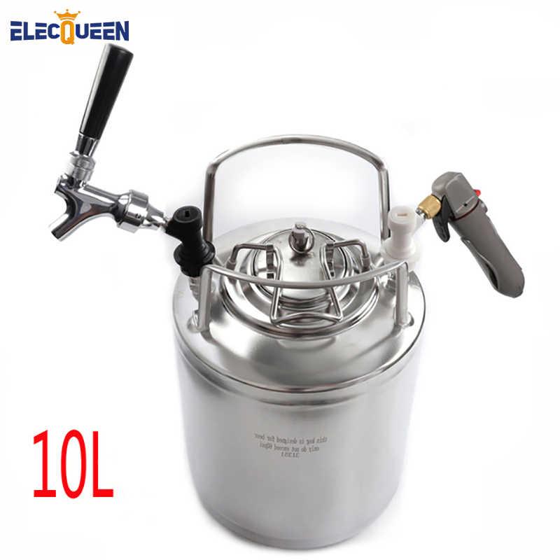 2.5 galonów 10L beczki Cornelius styl ze stali nierdzewnej stalowa beczka na piwo i kran z kranu i CO2 Keg zestaw ładujący, Homebrew zestaw