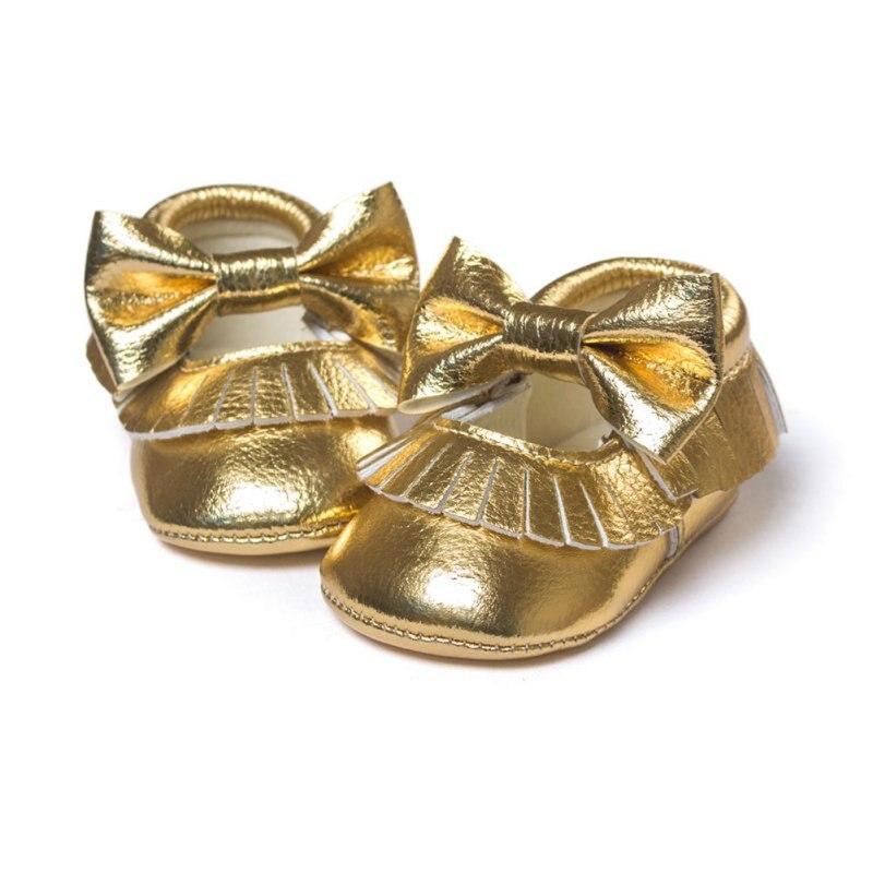 Bebe Moccasins Newborn Infants Kid Baby PU Tassel Bowknot Shoes Soft Soled Crib Shoes Prewalker