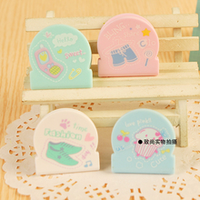 Free Shipping Fashion stationery (4pcs/set) cartoon plastic paper clip cute binder clips spring clip Office/school supplies