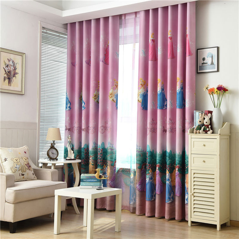 US $13.0 35% OFF Pink Princess modern curtains for girls bedroom Window  damask Curtain for Children nursery Living room blinds Cortinas-in Curtains  ...