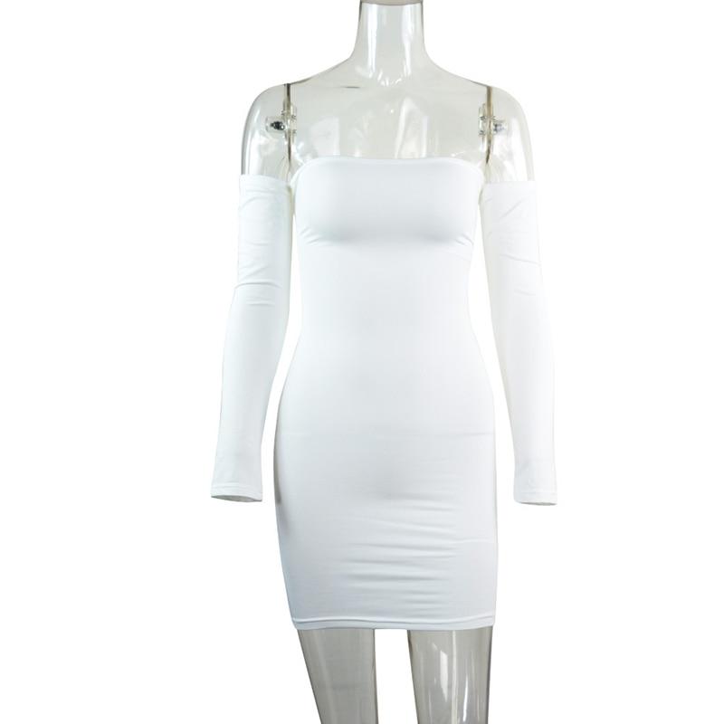 RLMABABY Sexy Kembali Perban Mini Dress Slim Off Shoulder Penuh - Pakaian Wanita - Foto 6