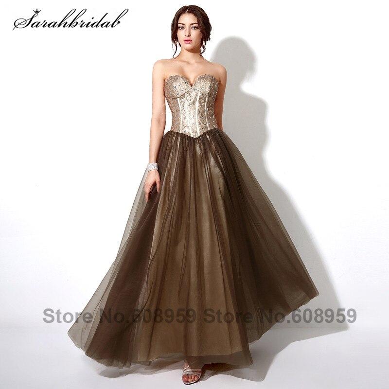 68670e6ca3 Moda złoty i brązowy cekinami suknie wieczorowe elegancki bez rękawów  piętro długość suknie balowe Vestido De Festa longo SD187
