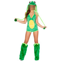 Green Frog Costume New Women Halloween Jumpsuits Fashion Animal Costume With Leg Warmer Costume Faux Fur