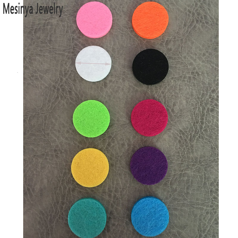 30pcs 10 Colors 22.5mm Essential Oils Diffuser pendant necklace jewelry Lockets felt Pads Perfume Aroma Lockets Pads - Round