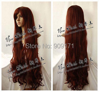 FREE SHIPP ^^^^^*40'' New Maiden Long Brown Red Cosplay Curly Wig 100cm
