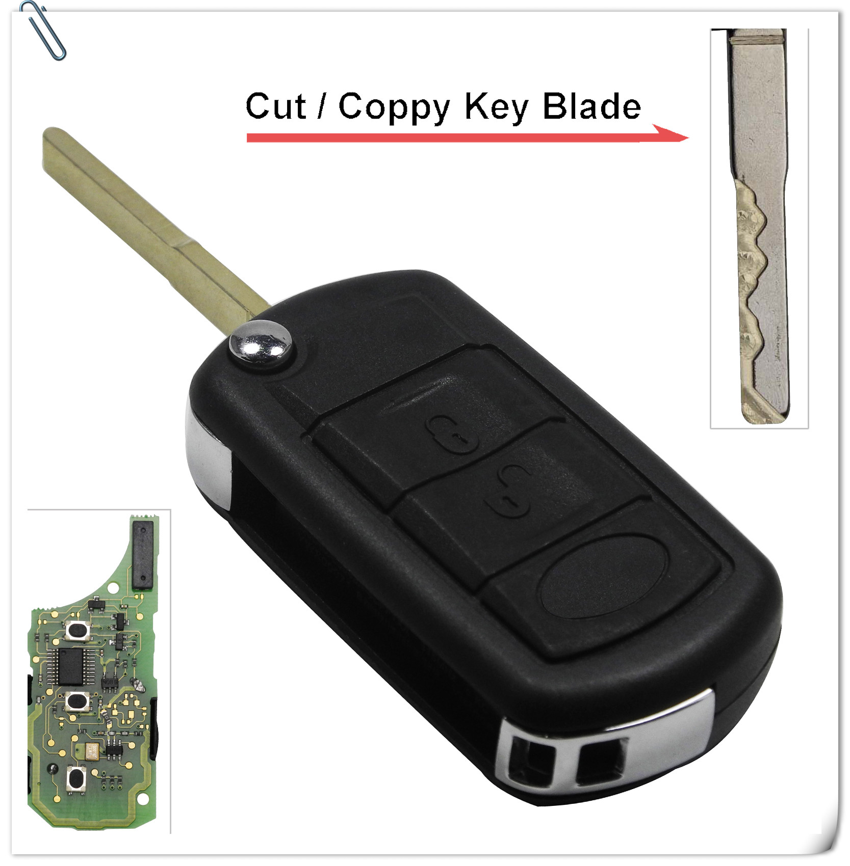 Automobile Locksmith 3 Button smart remote flip key fob Shell Case Blade for Land Rover Discovery LR3 Range Rover Sport
