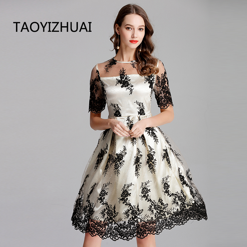TAOYIZHUAI high street style plus size apricot slash neck floral loose three quarter knee length fashion