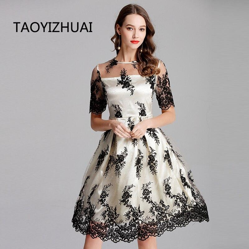 TAOYIZHUAI haute rue style grande taille abricot slash cou floral lâche trois-quarts genou longueur mode femmes robe 11630