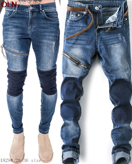 new 2017 blue wash locomotive jeans male cultivate one's morality elastic jeans tide male splicing feet jeans