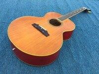 Guitarra acústica cor natural top, cor vermelha para trás, cor marrom pescoço, alta qualidade feito por encomenda pedido maneira!