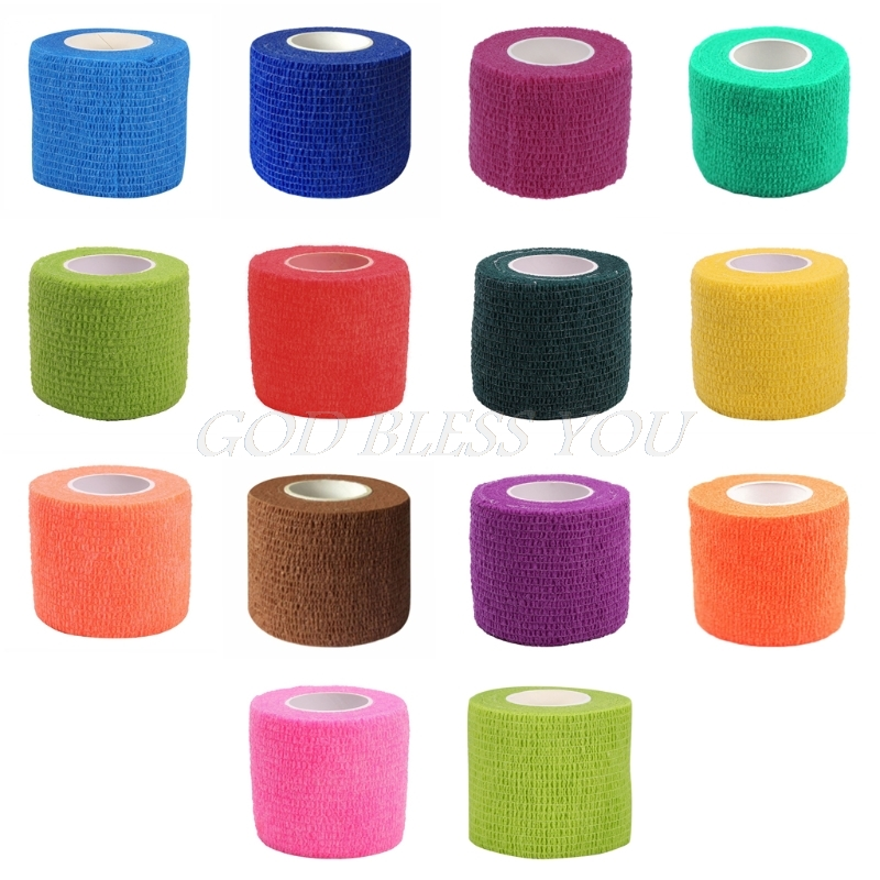 5cm X 4.5m Self Adhesive Elastic Bandage Medical First Aid Kit Colorful Tape Cotton Swabs