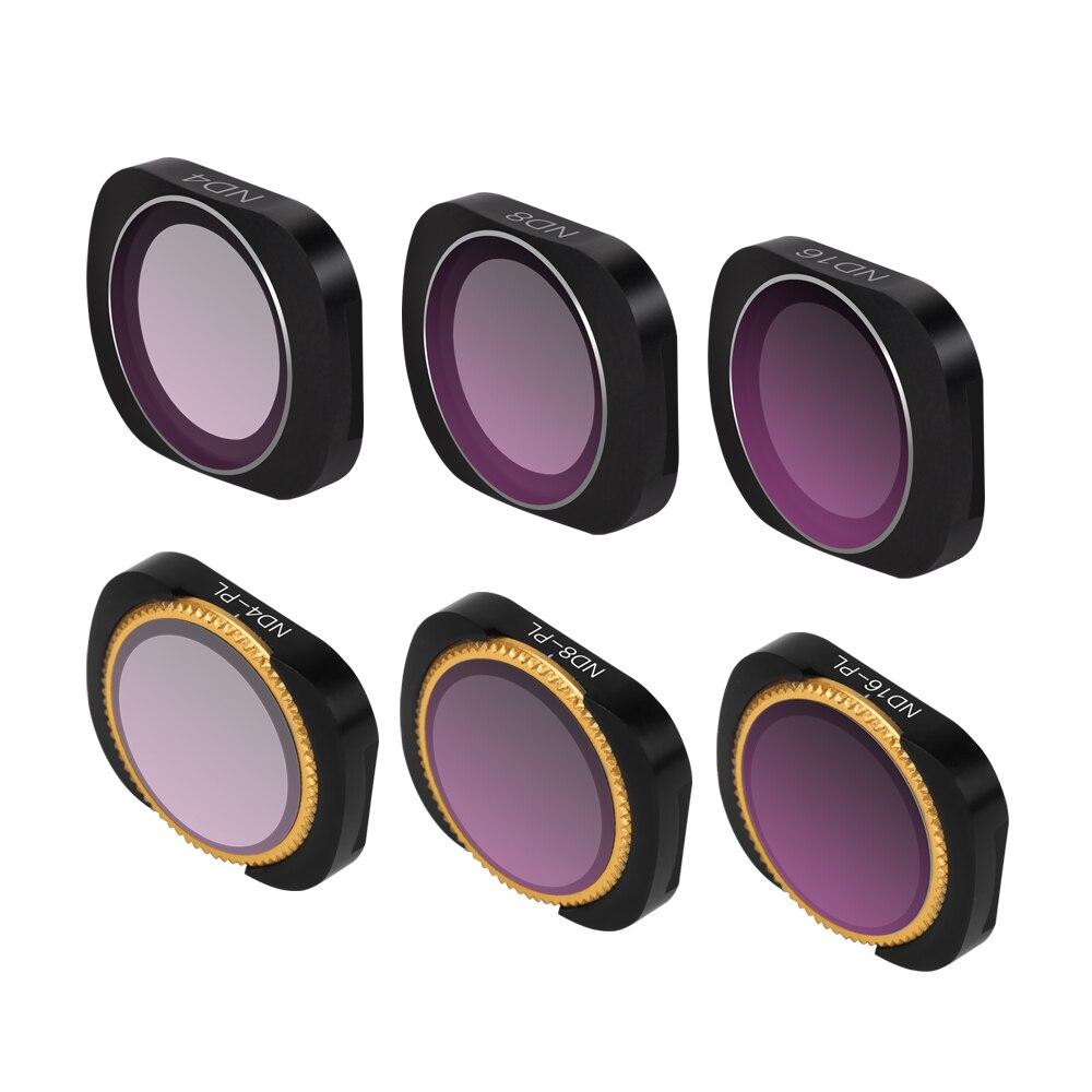 6 pièces/ensemble RC drone Caméra filtre d'objectif ND4 ND8 ND16 ND4-PL ND8-PL ND16-PL Pour DJI OSMO POCHE