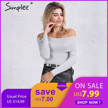 Simplee épaule dénudée élastique hiver chandail femmes court gris revers pull sexy blanc pulls automne moulante basique pull en tricot