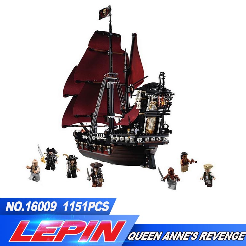 LEPIN 16009 1151pcs Queen Anne's revenge Pirates of the Caribbean Building Blocks Set Bricks Compatible legoed toys for children a suit of charming rhinestone hollow out fox necklace and earrings for women