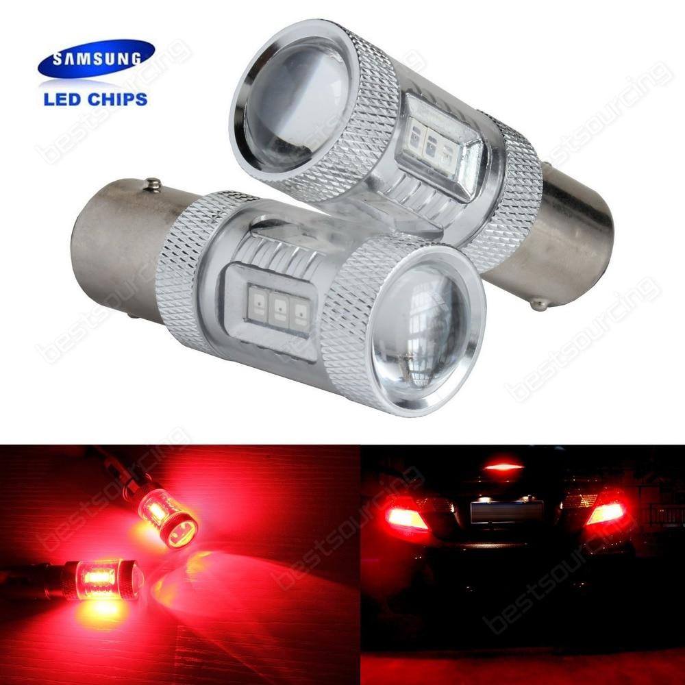 все цены на 2 Red 380 P21/5W 1157 BAY15d Bulb 15W SAMSUNG LED Indicator Rear Fog Tail Stop Light(CA261) онлайн