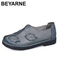 BEYARNE Retro Autumn Shoe Women Fashion Handmade Leave Comfortable Women Folk Flat Shoe Femme Genuine Leather Soft Driving Shoe