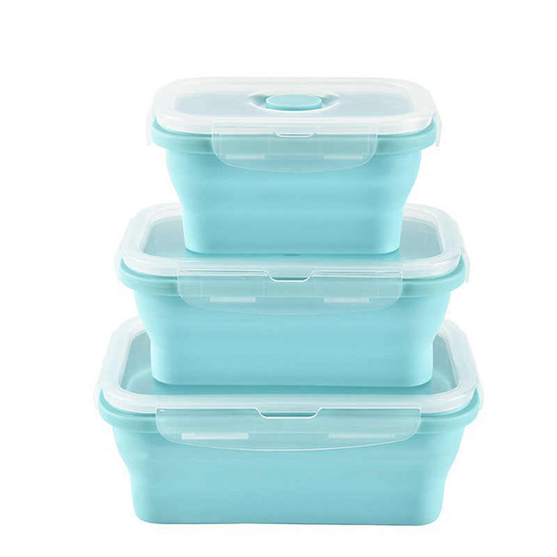 3 Pcs Portable Candy Color Silicone Folding Bowl Lunch Box  Food Storage Crisper  Collapsible Tableware Bowl