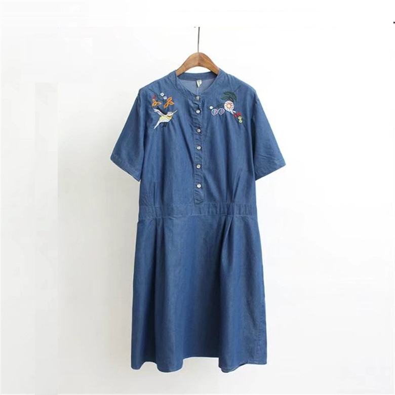 Women Vintage Boho Flower Bird Embroidery Dress Ethnic Style Short Sleeve O Neck Casual Dresses Vestidos