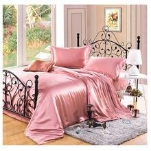 Juego de ropa de cama 100% de seda de morera pura, funda de edredón de seda, funda de almohada, funda de edredón lisa de seda teñida, Multicolor, varias tallas, 3 uds.