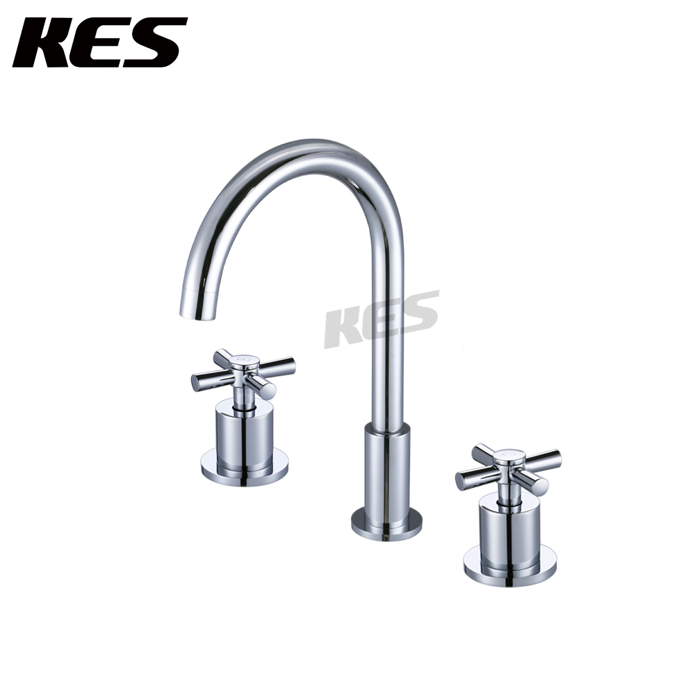 KES Bathroom Sink Faucet 3-Hole Two Handle Vanity Sink Widespread Faucet Lead-Free Brass Minimalist Brushed Nickel, L4304